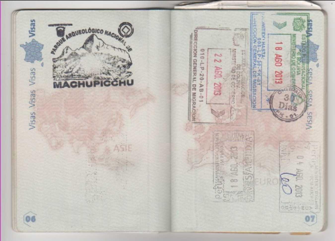 sellos raros pasaporte