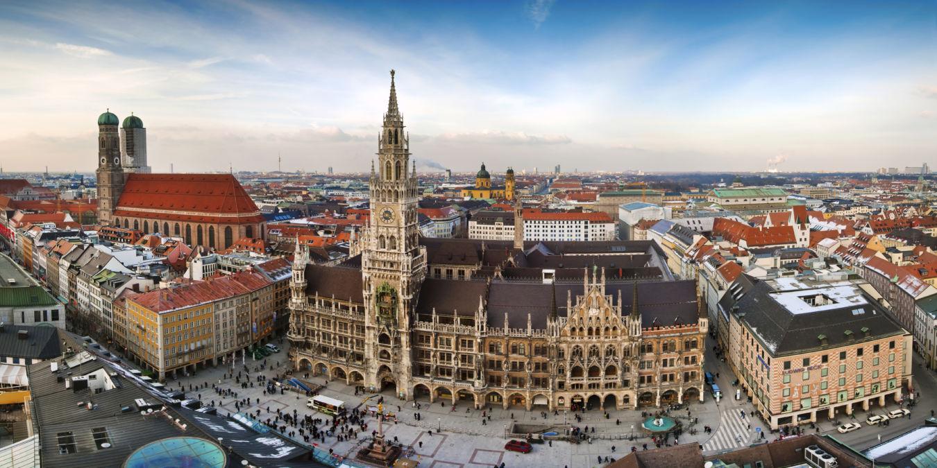 Vista panorámica de la plaza Marienplatz de Munich, en Alemania