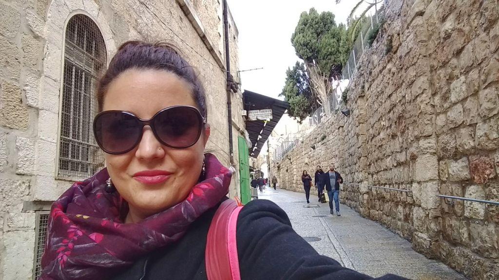 Selfie de Paloma de Un blog de Palo en la Vía Dolorosa de Jerusalén