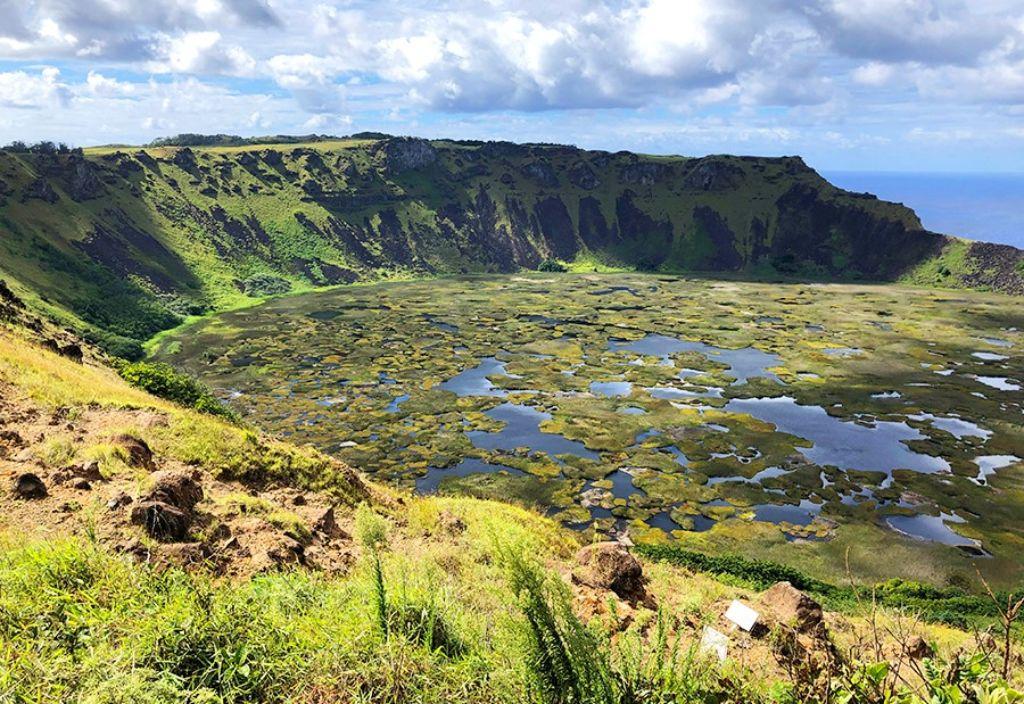 Cráter de Rano Kau en la Isla de Pascua