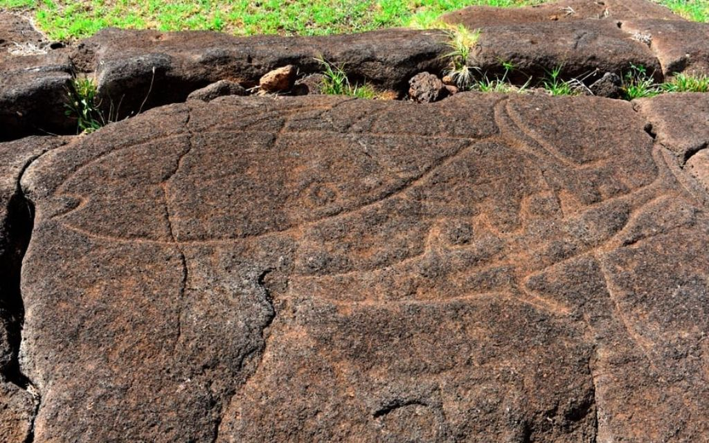 Pintura de la cultura Rapa Nui en una roca de Papa Vaka en la Isla de Pascua