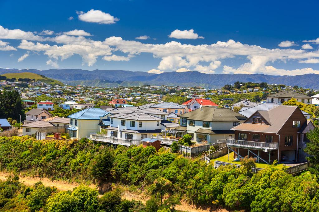 Vista de varias casas en Wellington, Nueva Zelanda