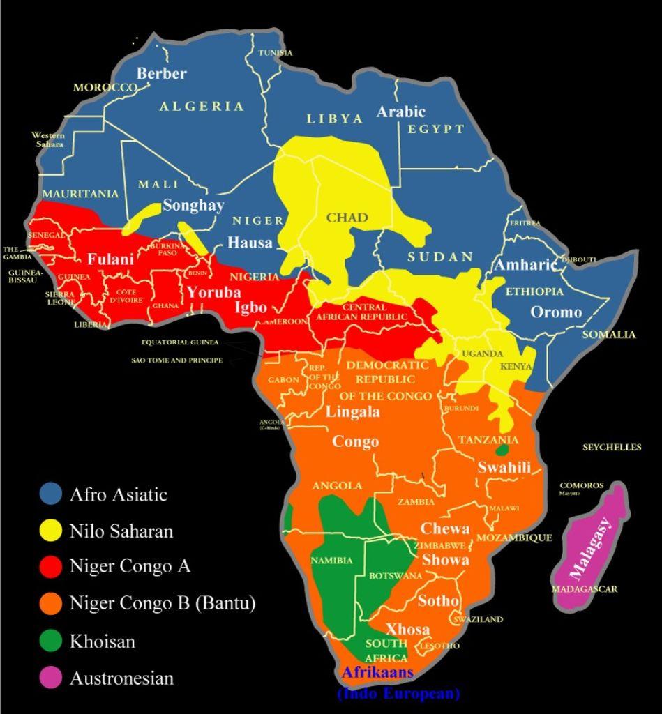 lenguas mapa africa Familias etnolingüísticas de África, Wikipedia.  los principales idiomas de África