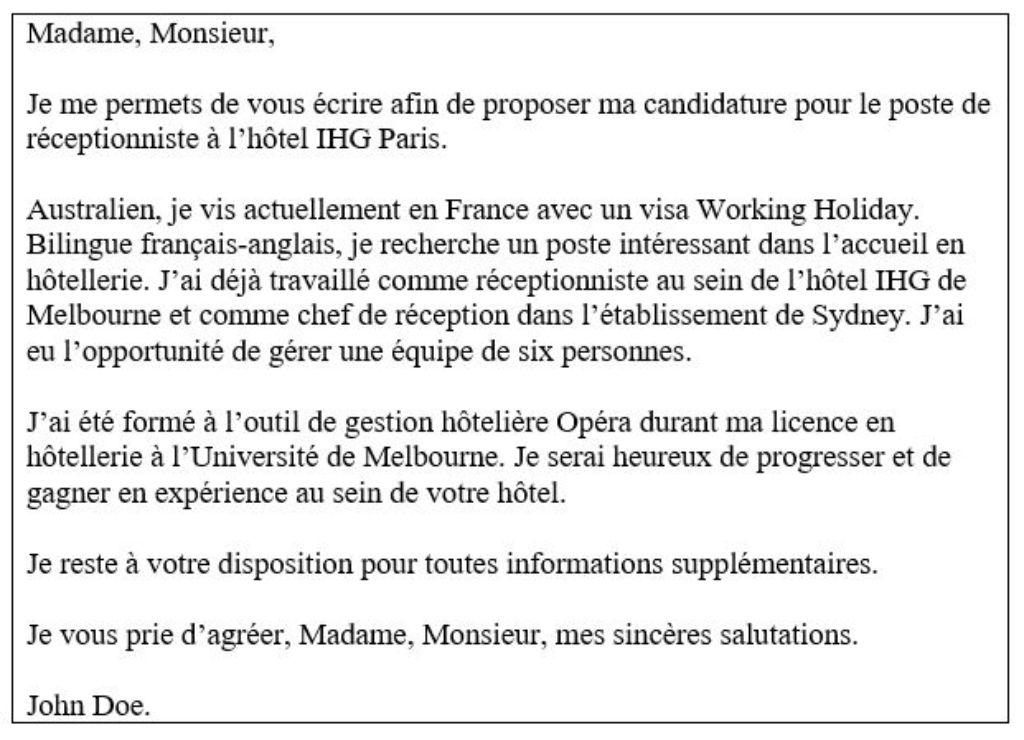 carta de motivación en francés