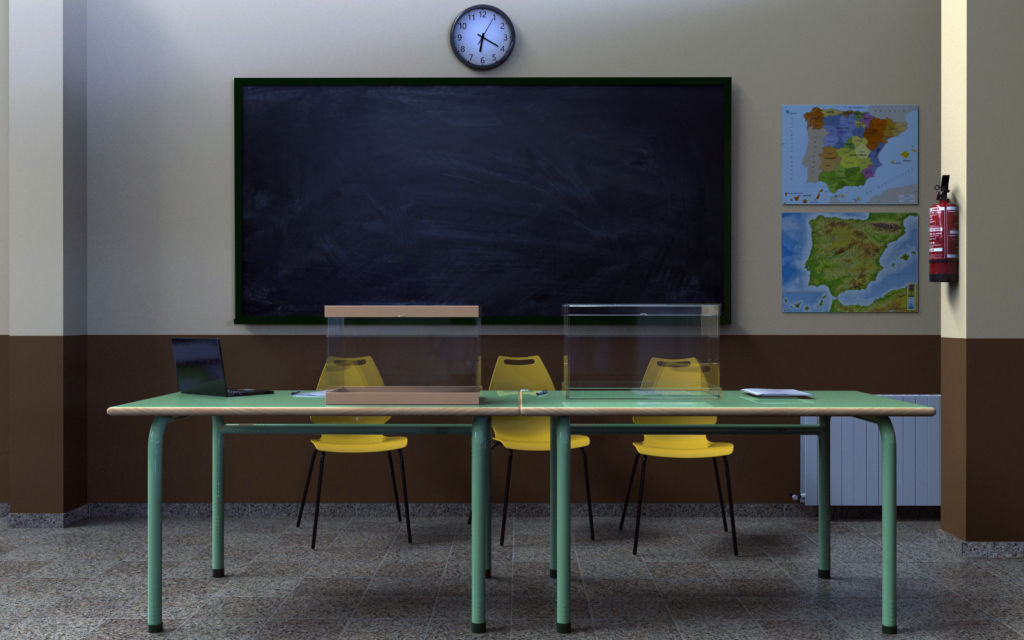 mesa electoral escuela vacía urna viaje