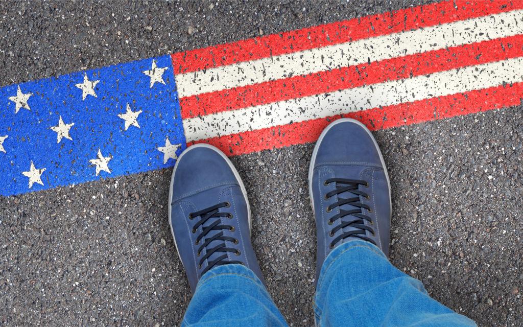 esta estados unidos pies bandera