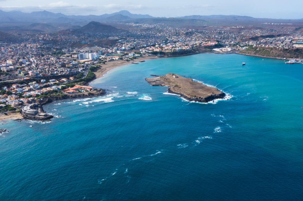 vista aérea de Praia en Santiago - Capital de Cabo Verde