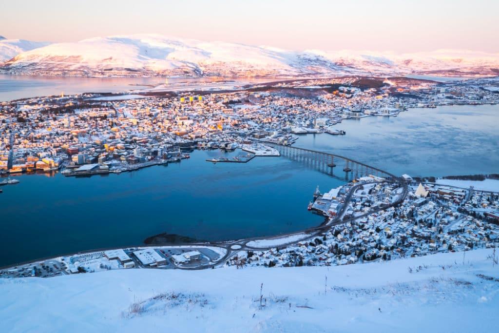 vista Tromsø nevado viaje con niños
