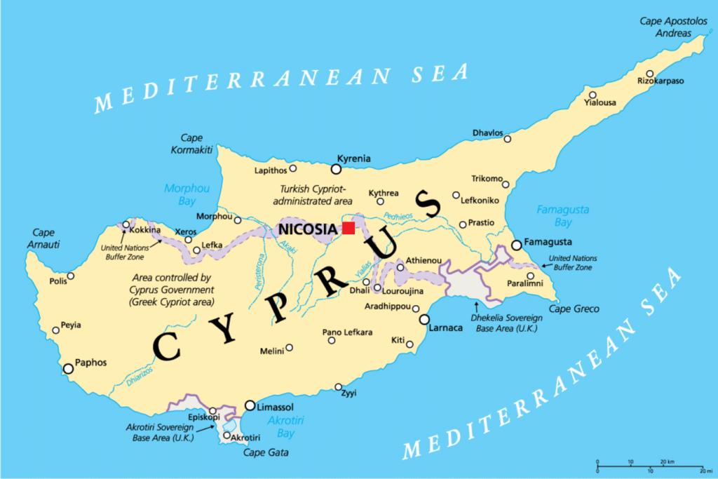 mapa de chipre que ver division de la isla