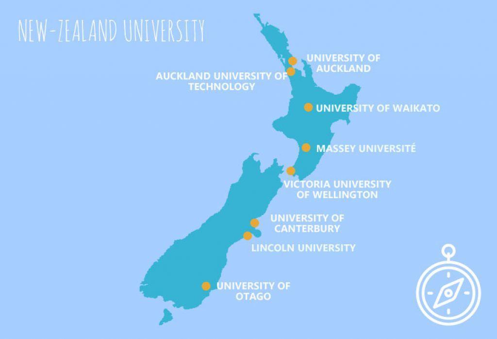 estudiar en Nueva Zelanda universidades mapa