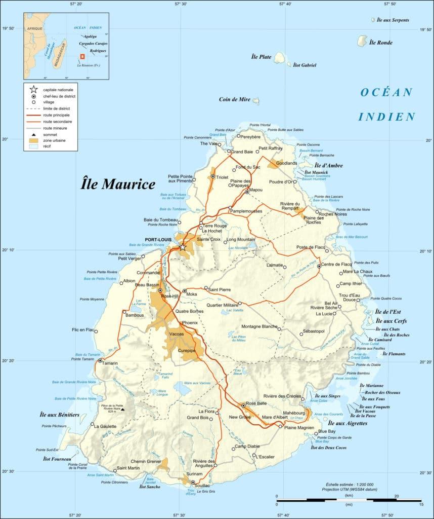 mapa de isla Mauricio. guía para irse a vivir a Mauricio