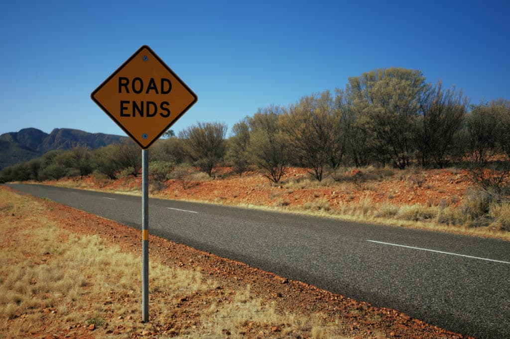 road ends señal de tráfico en Australia raras